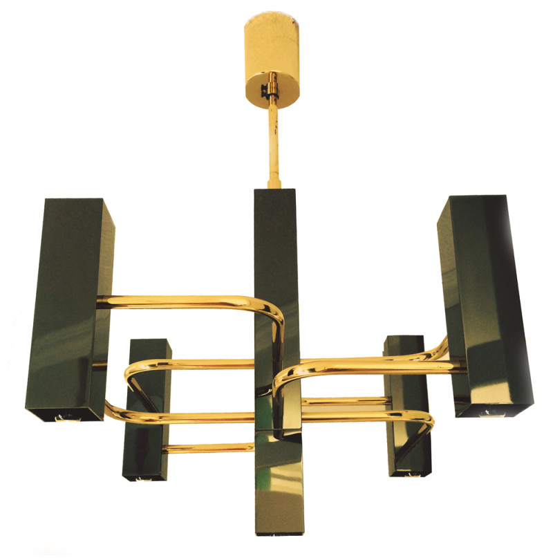 Vintage Chandelier By Gaetano Sciolari In Black Amp Brass