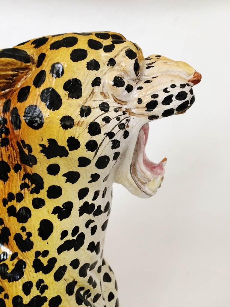 Hand-Painted Italian Ceramic Leopard Sculpture