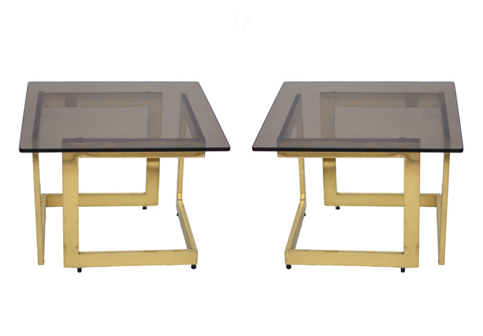 Pair of Mid-Century Brass Side Tables