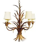 Gilt Metal Sheaf of Wheat Chandelier