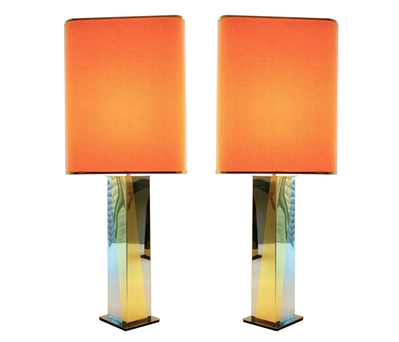 pair of table lamps in the style of paul evans galleria62. Black Bedroom Furniture Sets. Home Design Ideas