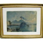 19th Century Grand Tour Gouache of Vesuvius Eruption
