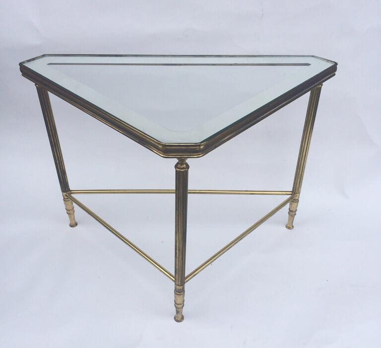 Maison Bagues Gilt Brass Triangular Side Tables - galleria62