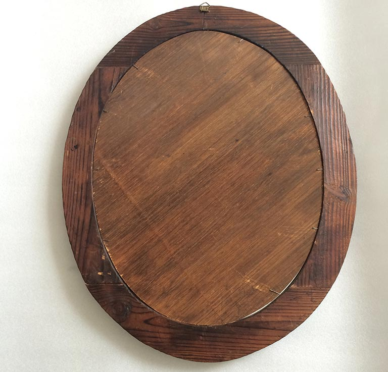 Oval Wood Mirror With Brass Details