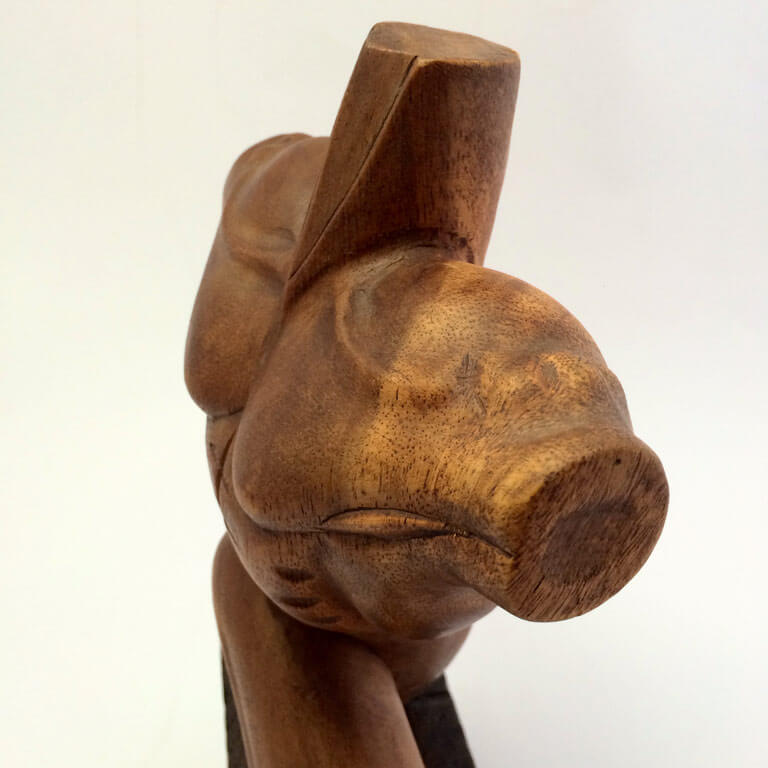 Abstract Wood Carved Male Torso Sculpture