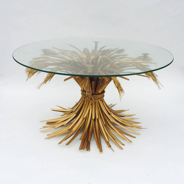 Coco Chanel Style Wheat Of Sheaf Gilt Coffee Table