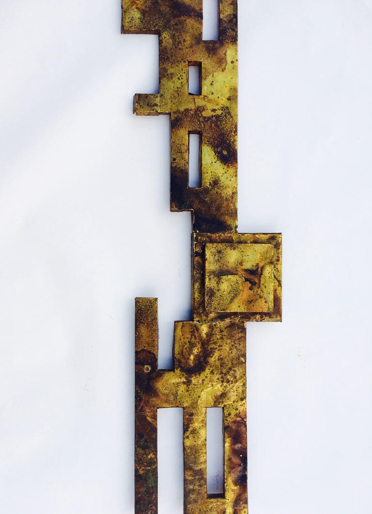 Mid Century Abstract Brass Foil Wall Sculpture