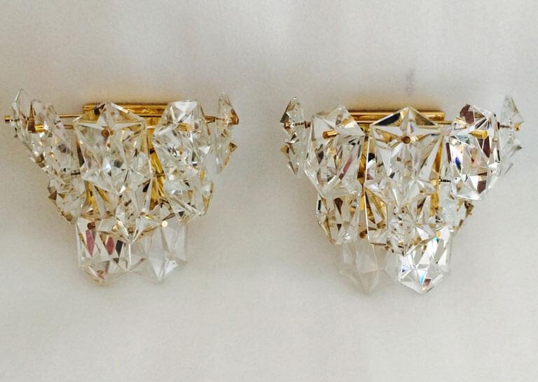Pair of Crystal Sconces by Kinkeldey