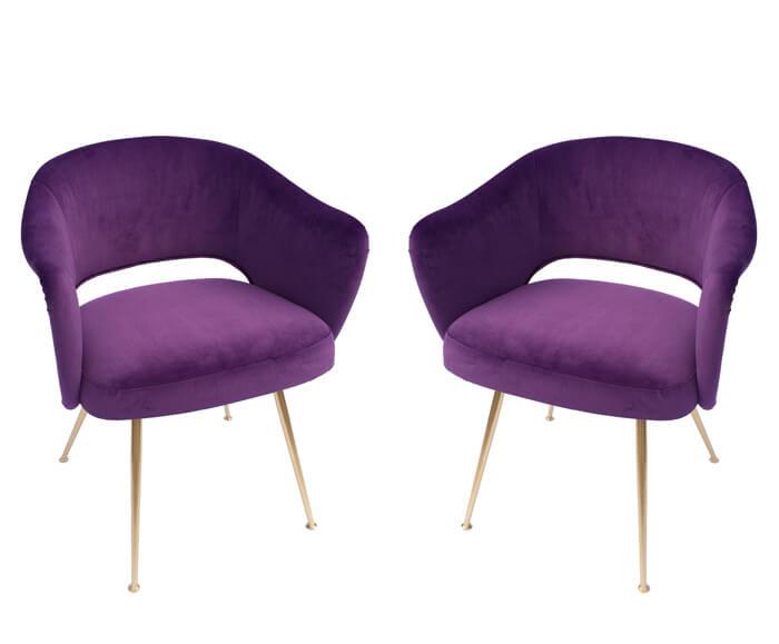 Pair Of Italian Purple Armchairs