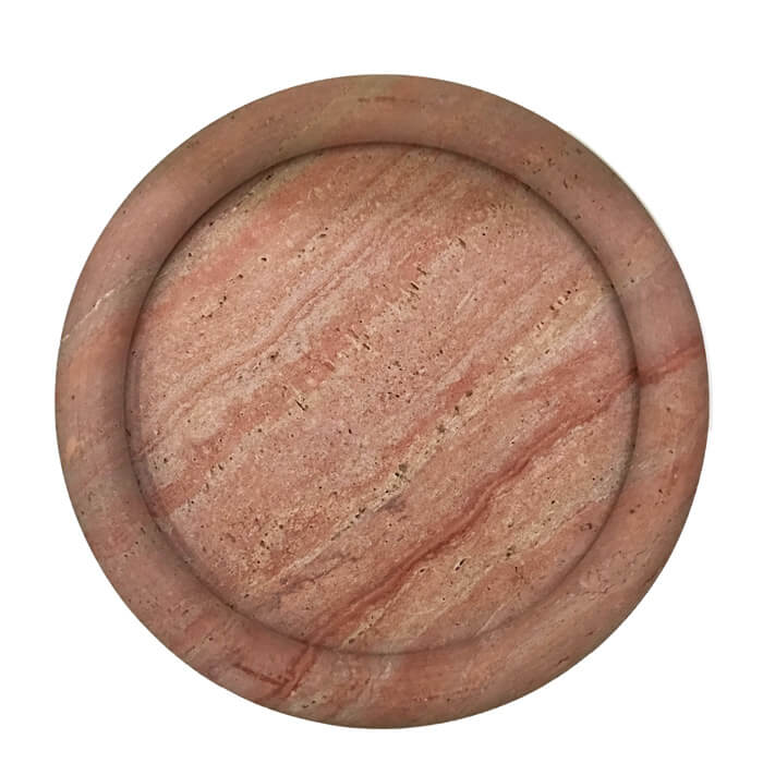 Large Pink Travertine Tray by D Rosa and Giusti for Up&Up