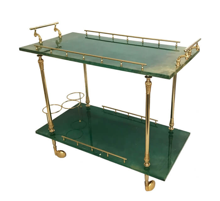 Aldo Tura Green Lacquered Bar Cart