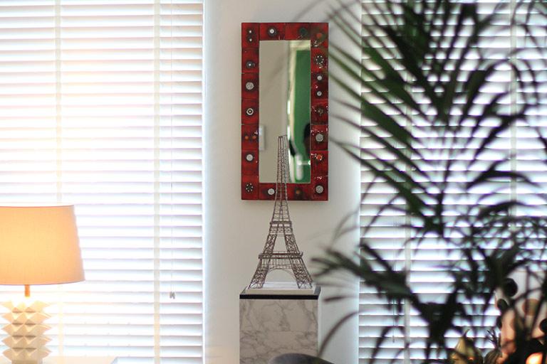 Oswald Tieberghien Red Ceramic Mirror