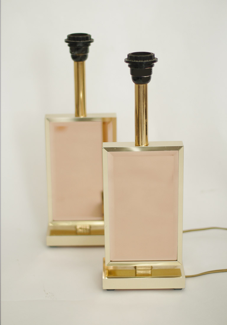 Architectural Lamps with Pink Mirror Glass