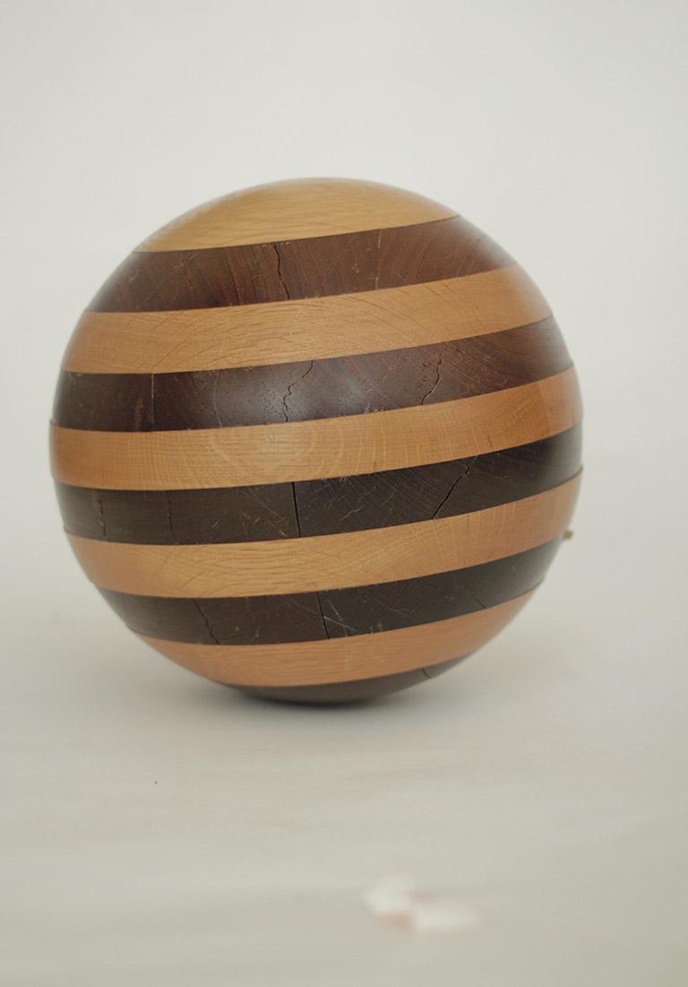 Mid Century Solid Wood Sphere