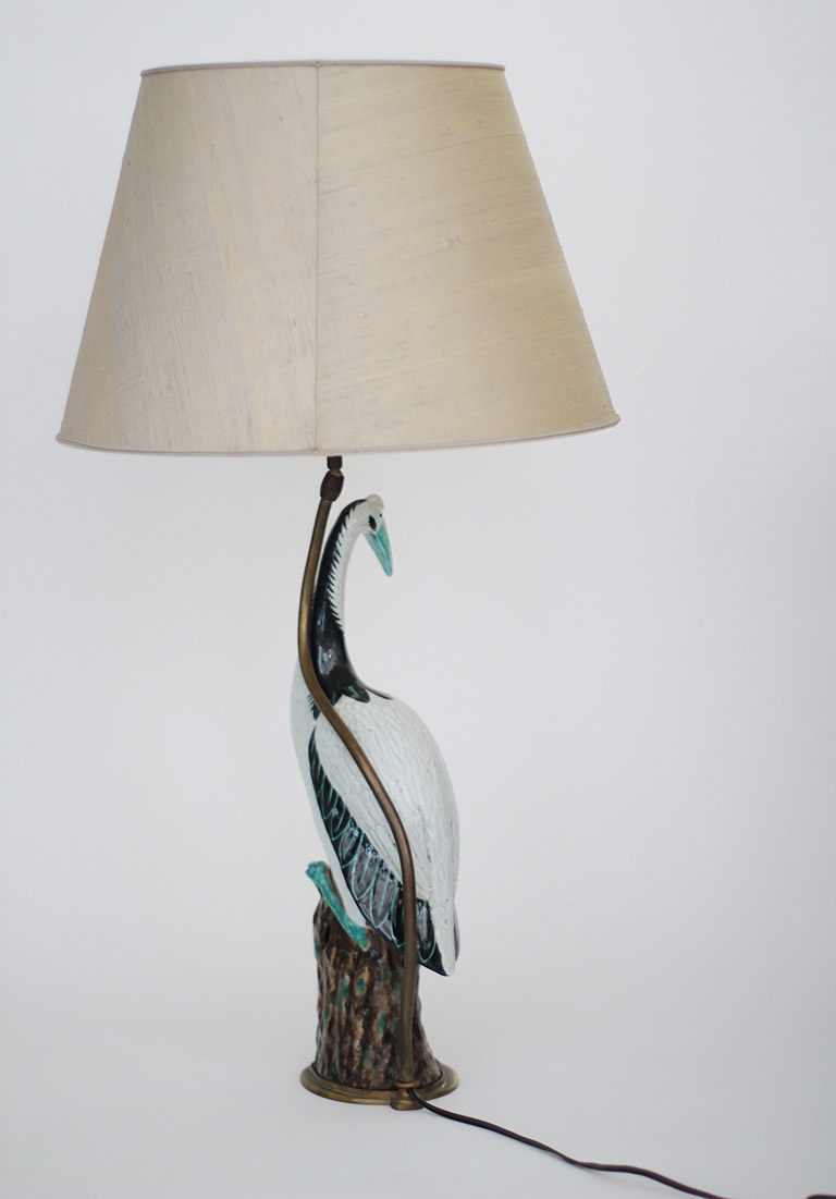 Large Chinoiserie Porcelain Crane Lamp