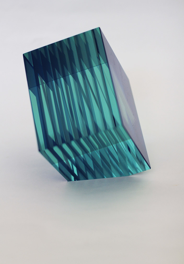 Bohumil Elias Blue Glass Cube