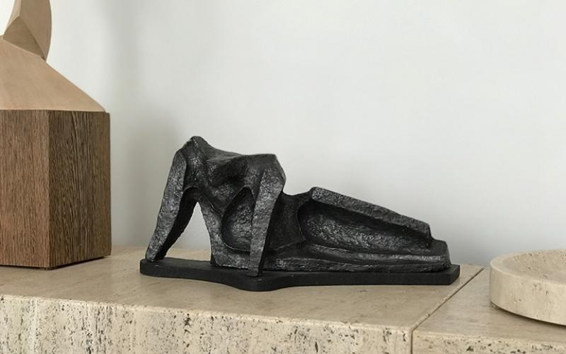 Abstract Reclining Ceramic Sculpture