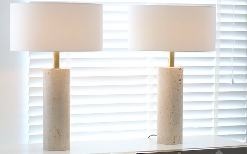 Pair of Travertine Table Lamps by Up&Up