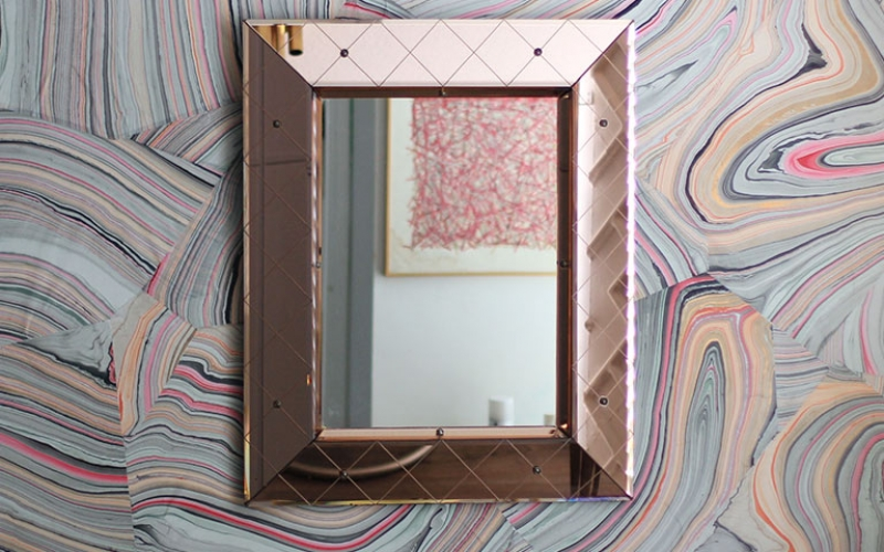 Pink Crystal Mirror by Fontana Arte