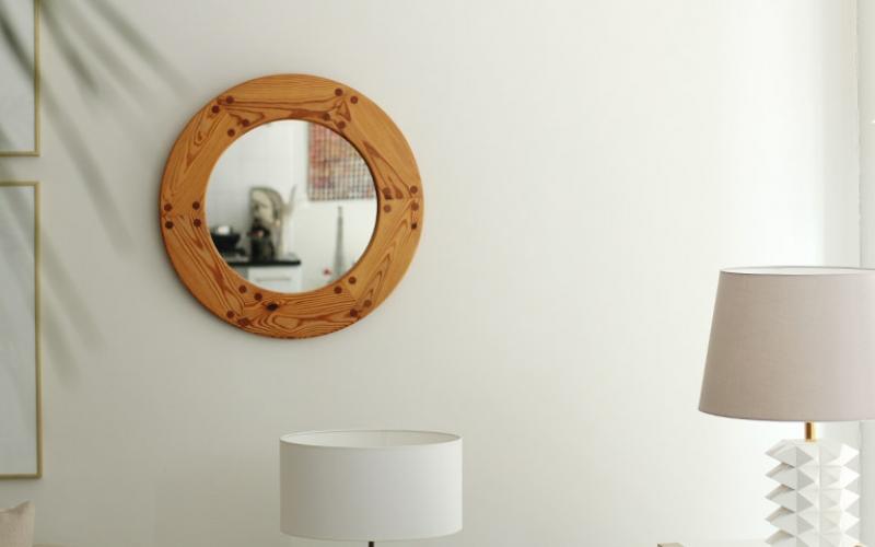 Round Swedish Pine Mirror